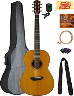 Yamaha CSF3M All-Solid Parlor Acoustic Guitar - Vintage Natural Bundle with Gig Bag, Tuner, Strings, Strap, Picks, Austin Bazaar Instructional DVD, and Polishing Cloth