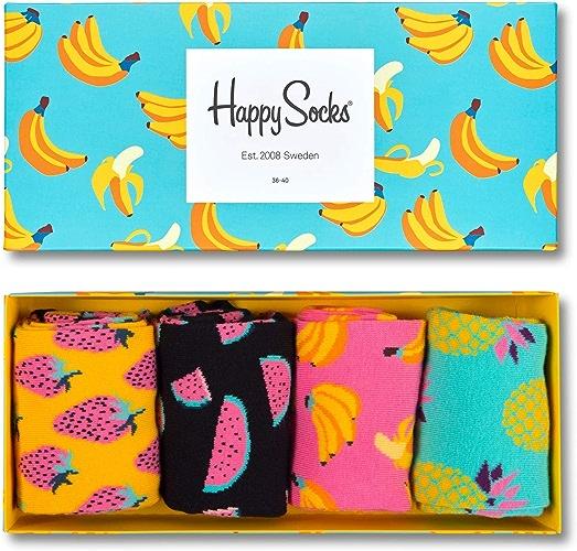 Happy Socks Hommes et Femme XPOP09 Fruit Conception Chaussettes dans une Boîte-cadeau Paquet de 4