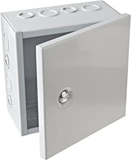 BUD Industries JBH-4957-KO Steel NEMA 1 Sheet Metal Box with Knockout and Hinged Cover, 8