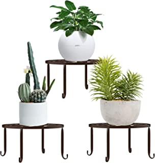 Lewondr Potted Plant Stand, [3-Pack] Indoor Iron Flowerpot Holder Rustproof Durable Metal Garden Container Outdoor Decorative Round Supports for Planter – Chocolate
