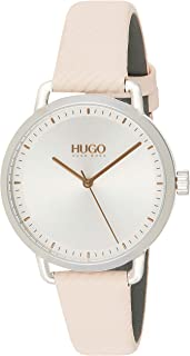 Hugo Boss Women's Silver White Dial Pink Leather Watch - 1540053