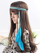 A&C Indian Alloy Leaf and Blue Peacock Feather Headband, Headpiece for Women, Fashion Head Chain and Headpiece for Girls (Blue)