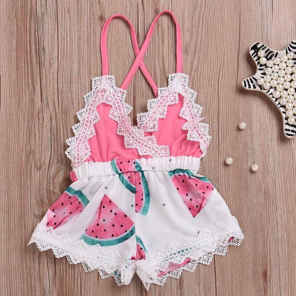 MetCuento Newborn Baby Toddler Girls Watermelon Romper Strap Backless Bodysuit Jumpsuit Outfits Clothes Summer