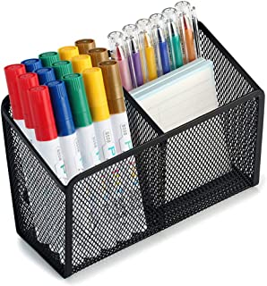 Magnetic Pencil Holder - 2 Generous Compartments Extra Strong Magnets Mesh Marker Holder Perfect for Whiteboard, Refrigerator and Locker Accessories