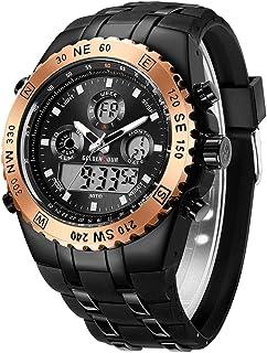 Orologio sportivo da uomo, impermeabile, cronometro, data, sveglia, luminoso, digitale, analogico, militare, con cinturino...