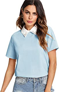 Women's Cute Contrast Collar Short Sleeve Casual Work Blouse Tops