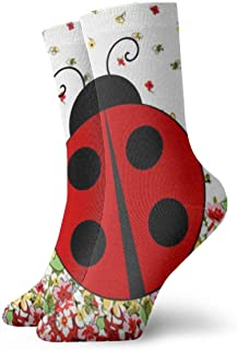 Be-ryl, Red Ladybug Novelty Crew Calcetines Athletic Calcetines Medias 30CM
