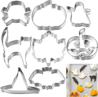 OUNONA 8pcs Halloween Cookie Cutter Stainless Steel Cake Biscuit Molds Set - Pumpkin, Ghost, Skull, Bat, Witch's Hat, Maple Leaf, Cat
