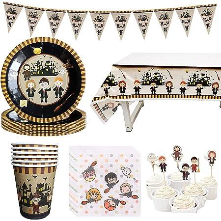 Amycute Wizard Tema Forniture per Feste, Mago Piatti Bicchieri Tovaglioli Tovaglia Cupcake Toppers Striscioni per Festa di Compleanno per Bambini