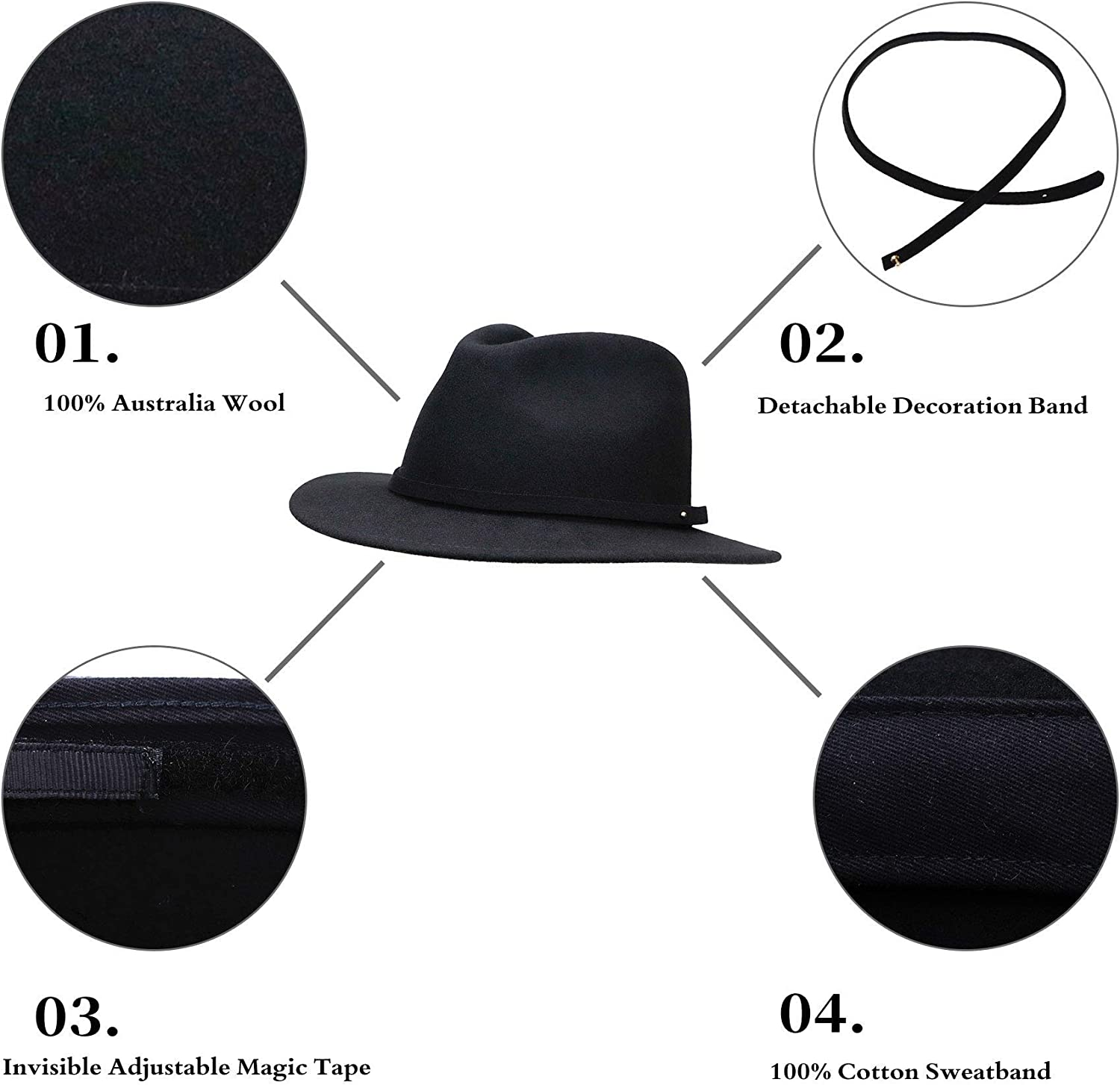 Fedora for Men Women Wool Felt Camel Red Black Grey Panama Hat Classic Wide Brim with Feather Vintage