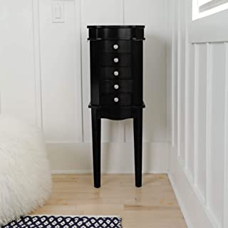 Hives & Honey Erin Jewelry Armoire with Mirror Wood Box Storage Chest Cabinet Organizer, Black