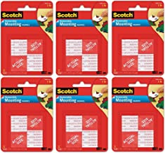 """Scotch® - Precut Foam Mounting 1"""" Squares, Double-Sided, Removable, 16 Squares/Pack - Precut, Double-Sided mounting tabs- 6 Pack"""