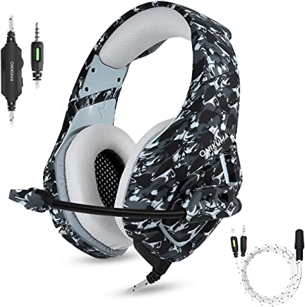 $24 Get Gaming Headset with Microphone for PS4 PC Xbox One, Stereo Over Ear Gamer Headphones with Mic Noise Cancelling for Laptop, Mac, Smart Phones, Nintendo Switch, Playstation 4 - Camo