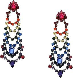 Rainbow Rhinestone Tiered Chandelier Earrings