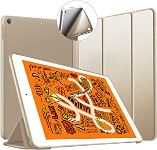 iPad Mini 5 ケース 2019 超薄型 超軽量 TPU ソフトスマートカバー オートスリープ機能 衝撃吸収 キズ防止 三つ折りスタンド iPad Mini5(第五世代) 専用 ーゴールド
