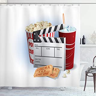 Ambesonne Movie Theater Shower Curtain, Soda Tickets Fresh Popcorn and Clapper Board Blockbuster Premiere Cinema, Cloth Fabric Bathroom Decor Set with Hooks, 70