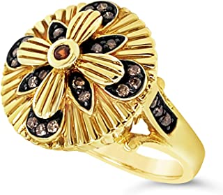 .925 Gold Vermeil Over Sterling Silver Brown Zircon and Brown Diamond Art Deco Flower Ring For Women 1/4 Carats