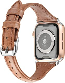 Secbolt Leather Bands Compatible Apple Watch Band 38mm 40mm Stainless Steel Buckle Replacement Slim Brush Off Leather Wristband Sport Strap Iwatch Series 5 4 3 2 1, Tan