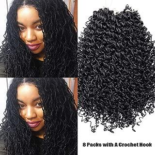 8Packs 55 Inch Wavy Small Box Braids Crochet Hair Curly ZiZi Braids Long Synthetic Hand Crochet Braids 28 Strands/Pack Wave Crochet Box Braid Hair Extensions for Women Black Color (1#)