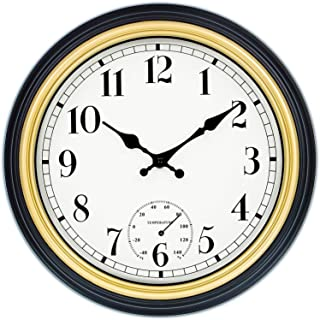 45Min 12 Inch Indoor/Outdoor Retro Round Waterproof Wall Clock with Thermometer, Silent Non Ticking Battery Operated Quality Quartz Wall Clock Home/Patio Decor(Gold)