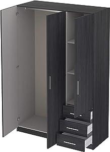 Movian - Armoire 3portes et 3tiroirs Idre Modern, 51 x 129 x 191, Gris