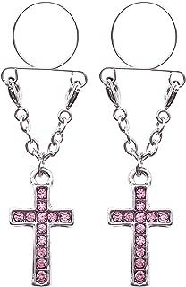 21secret Body Jewelry Adjustable Non Pierced Cilp on Long Dangle Chain Rhinestone Set Cute Lucky Cross 2Pcs Clamps Shields Fake Nipple Rings