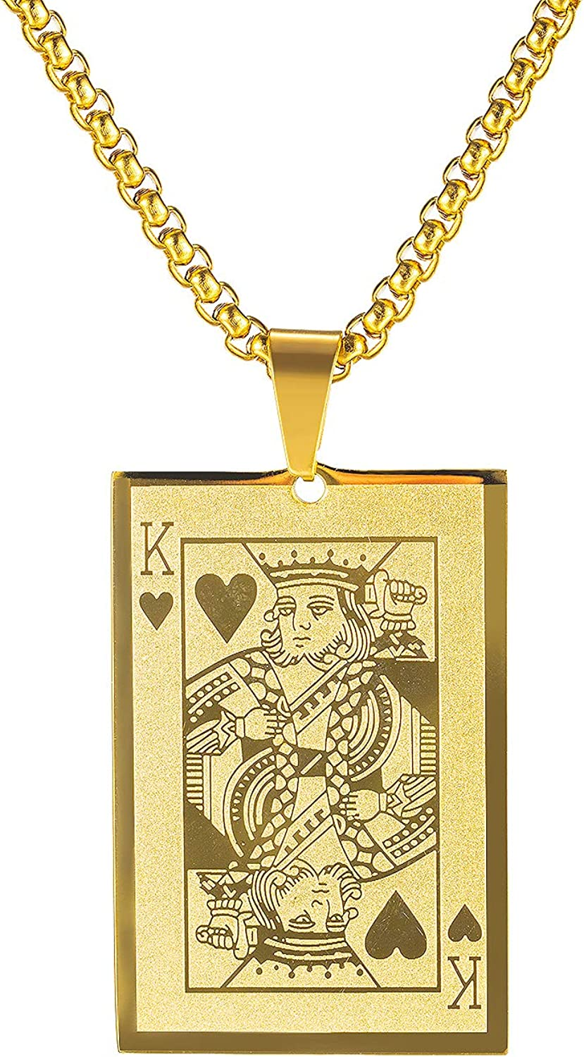 Titruebe Playing Popular overseas Card latest Poker Tag Pendant St Men Boys Necklace for