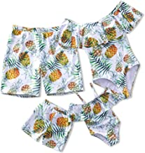 Yaffi Family Matching Swimsuit 2019 Newest One Piece Pineapple Printed Ruffles Monokini Off Shoulder Bathing Suit