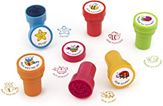 Trendhaus 601742 zelfkleurende lerarenstempel   6 kleurrijke beloningsstempels met diermotieven 2,6 cm x 3,7 cm