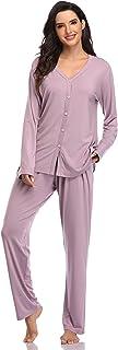 SHEKINI Pigiama in Modal da Donna Pigiamacon Bottoni in Cotone con Pantaloni con Elastico in Vita Camicia da Notte Set da ...