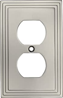 Cosmas 25026-SN Satin Nickel Single Duplex Electrical Outlet Wall Plate/Cover