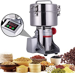 BI-DTOOL 2000G Electric Grain Grinder Stainless Steel Pulverizer Grinding Machine Commercial Cereals Grain Mill for Kitchen Herb Spice Pepper Coffee with LCD Digital Display