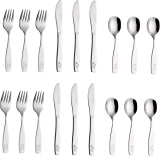 Exzact Stainless Steel 18 Pieces Childrens Flatware/Kids Silverware/Cutlery Set - 6 x Forks, 6 x Safe dinnerknives, 6 x Dinner Spoons - Safe Toddler Utensils (Engraved Dog Cat Bunny)