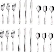 Exzact Childrens Cutlery Set 18pcs Stainless Steel Kids Cutlery/Toddler Utensils/Flatware - 6 x Forks, 6 x Safe Dinner Kni...
