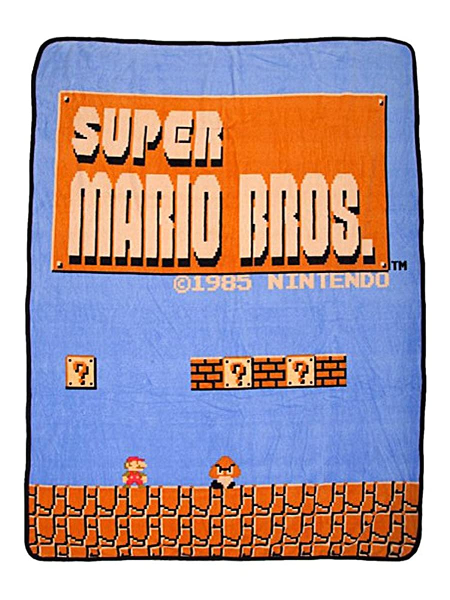 bioWorld Nintendo Super Mario Bros Retro Fleece Throw Blanket, 48