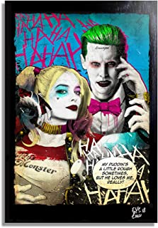 Harley Quinn and The Joker from Suicide Squad Movie - Pop-Art Original Framed Fine Art Painting, Image on Canvas, Artwork, Movie Poster, Dc Comics