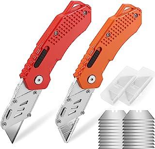 DIYSELF 2-Pack Box Cutter Knife, Pocket Knife, Extra 10 Blades Included, Folding Utility Knife for Carpet, Cardboard, Box,...
