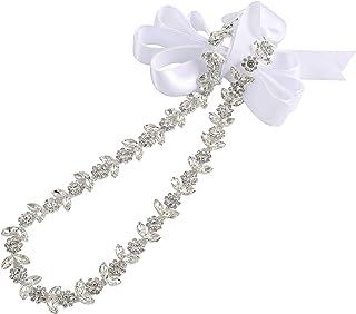 حزام زفاف WEZTEZ رقيق كريستال حزام الزفاف الزفاف إشبينة العروس وشاح مع أحجار الراين اللؤلؤ للنساء اكسسوارات اللباس