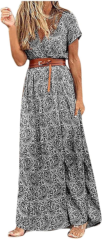 Maryia Casual Summer Dresses for Women Bohemian High Waist Floral Graphic Print Beach Dress Long Maxi Dresses