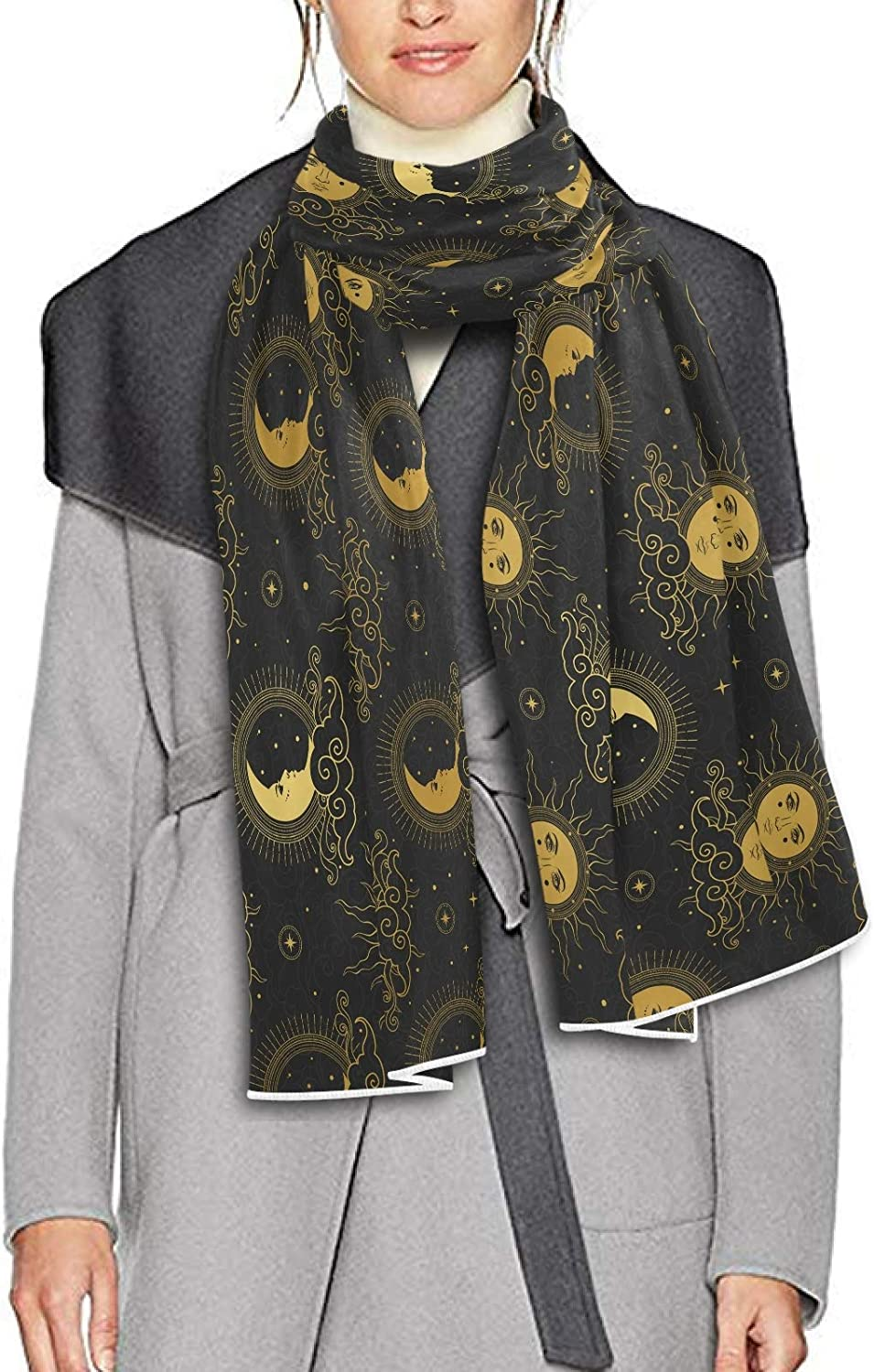 Scarf for Women and Men Sun Moon Starry Sky Black Night Blanket Shawl Scarves Wraps Warm soft Winter Oversized Scarves Lightweight