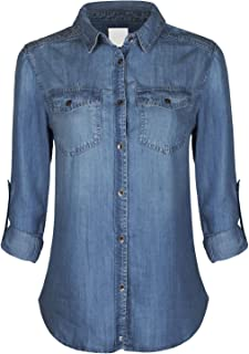 Design by Olivia Women's Classic Long/Roll Up Sleeve Button Down Denim Chambray Shirt