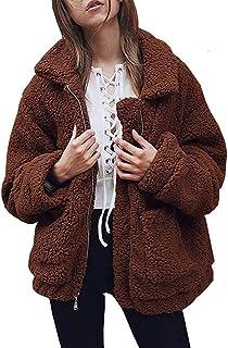 a3f31ab75c NSBS Women Coat Winter Casual Lapel Fleece Shaggy Fuzzy Jacket Zipper Up Faux  Fur Shearling Jackets