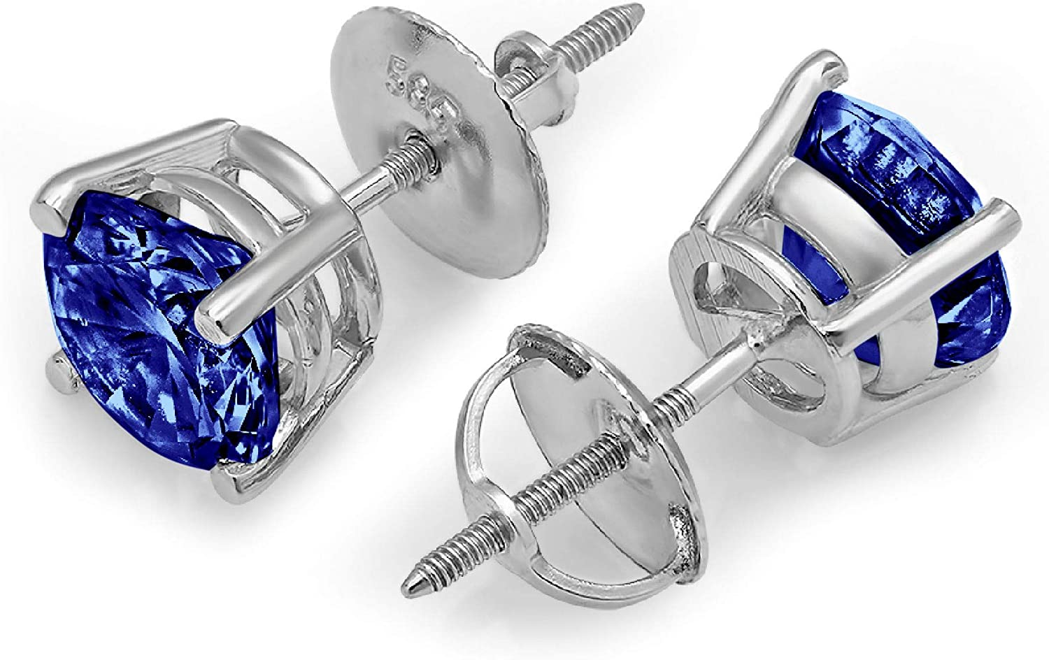 3.0 ct Brilliant Round Cut Solitaire Flawless Genuine Simulated CZ Blue Tanzanite Gemstone VVS1 Ideal Pair of Designer Stud Earrings Solid 14k White Gold Screw Back