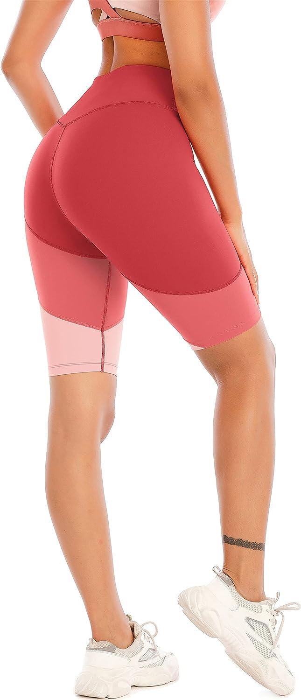 Fancyskin High Waist Yoga Shorts Tummy Control Sport Shorts with Pockets for Women