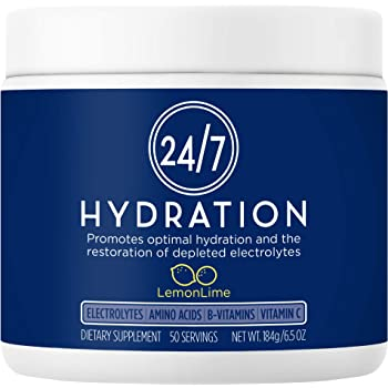 24/7 Hydration - Electrolyte Powder Supplement for Optimal Hydration: Doctor-Formulated, All Natural, Calorie & Sugar Free, Keto, 7 Key Electrolytes, 10 Essential Amino Acids (Lemon Lime, 50 Servings)