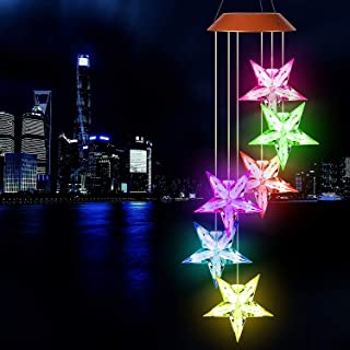 Solar Star Wind Chimes Outdoor,LED Color Changing Solar Lights Outdoor Decor Mobile Wind Spinner Wind Chimes for Home Part...