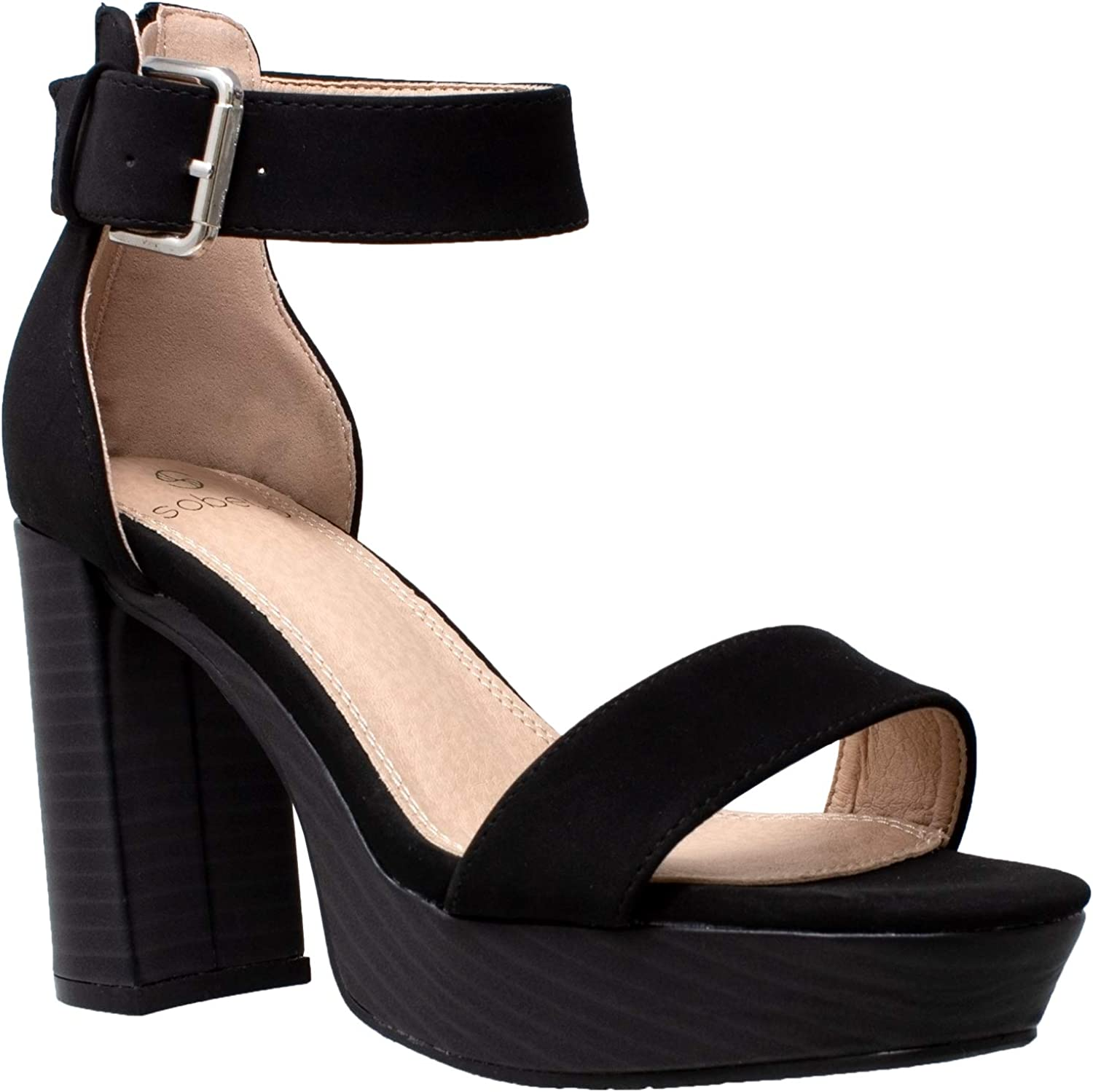SOBEYO Women's Platform Sandals Ankle Many popular brands High Strap Chunky Outstanding Block He
