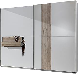 Fresh to Go 636617Armoire à Portes coulissantes, 250x 218x 65cm avec Deux tiroirs, façade et Corps Imitation chêne Bla...