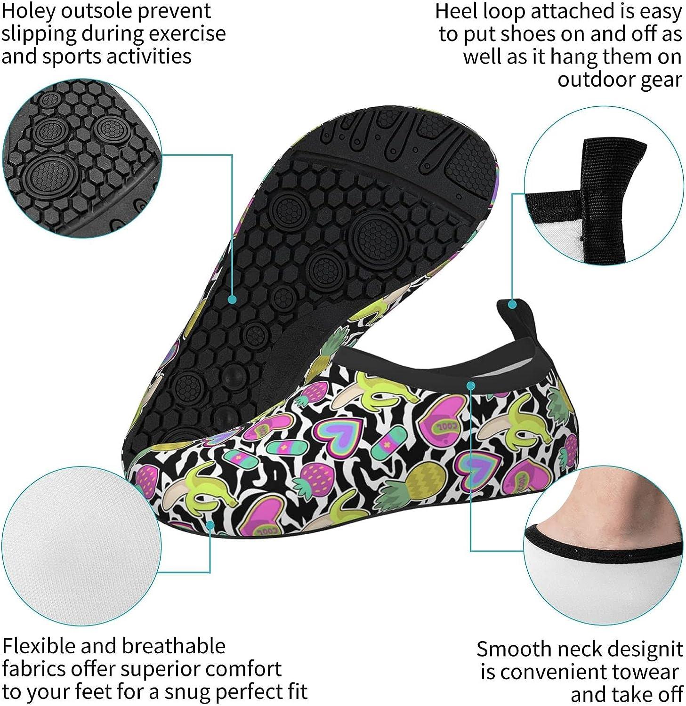 Jedenkuku Zebra Print Heart Banana Pineapple Children's Water Shoes Feel Barefoot for Swimming Beach Boating Surfing Yoga