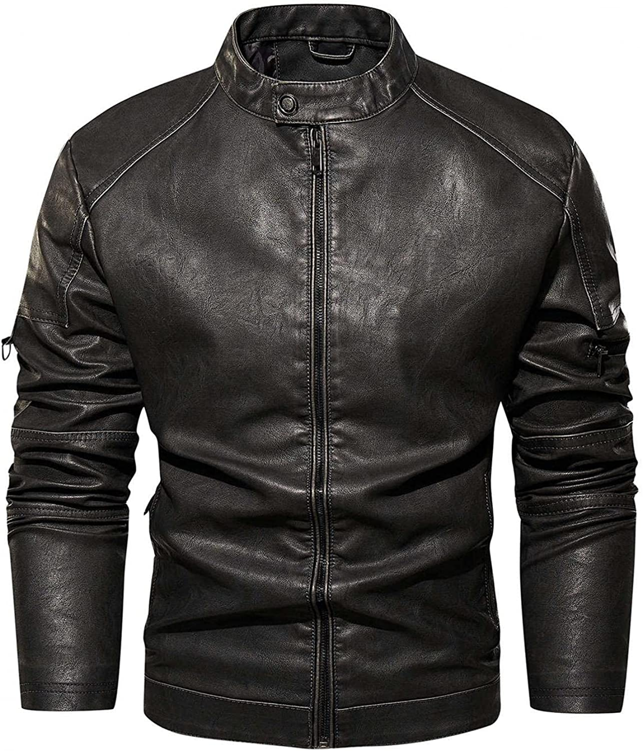 Mens Leather Jackets Stand Collar Full Zipper Windbreaker Outwear Tops Warm Thicken Sweatershirts Motorcycle Overcoat